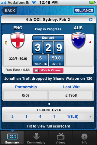 ICC World Cup Cricket 2011- iPhone App For Live Score