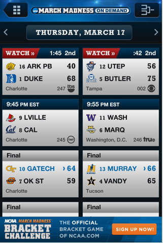 NCAA March Madness iPhone App – Live stream For NCAA Games