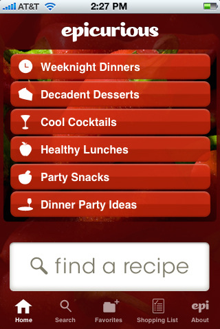 Epicurious Recipes & Shopping List on your iphone