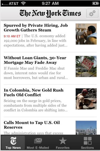 NYTimes – News Paper on iphones