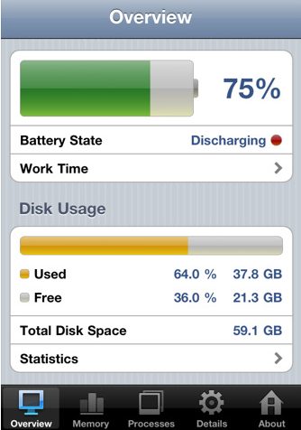 System Status – iPhone App to Monitor your Device