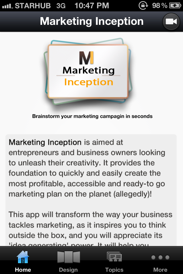 Marketing Inception – iPhone App for Marketing Ideas