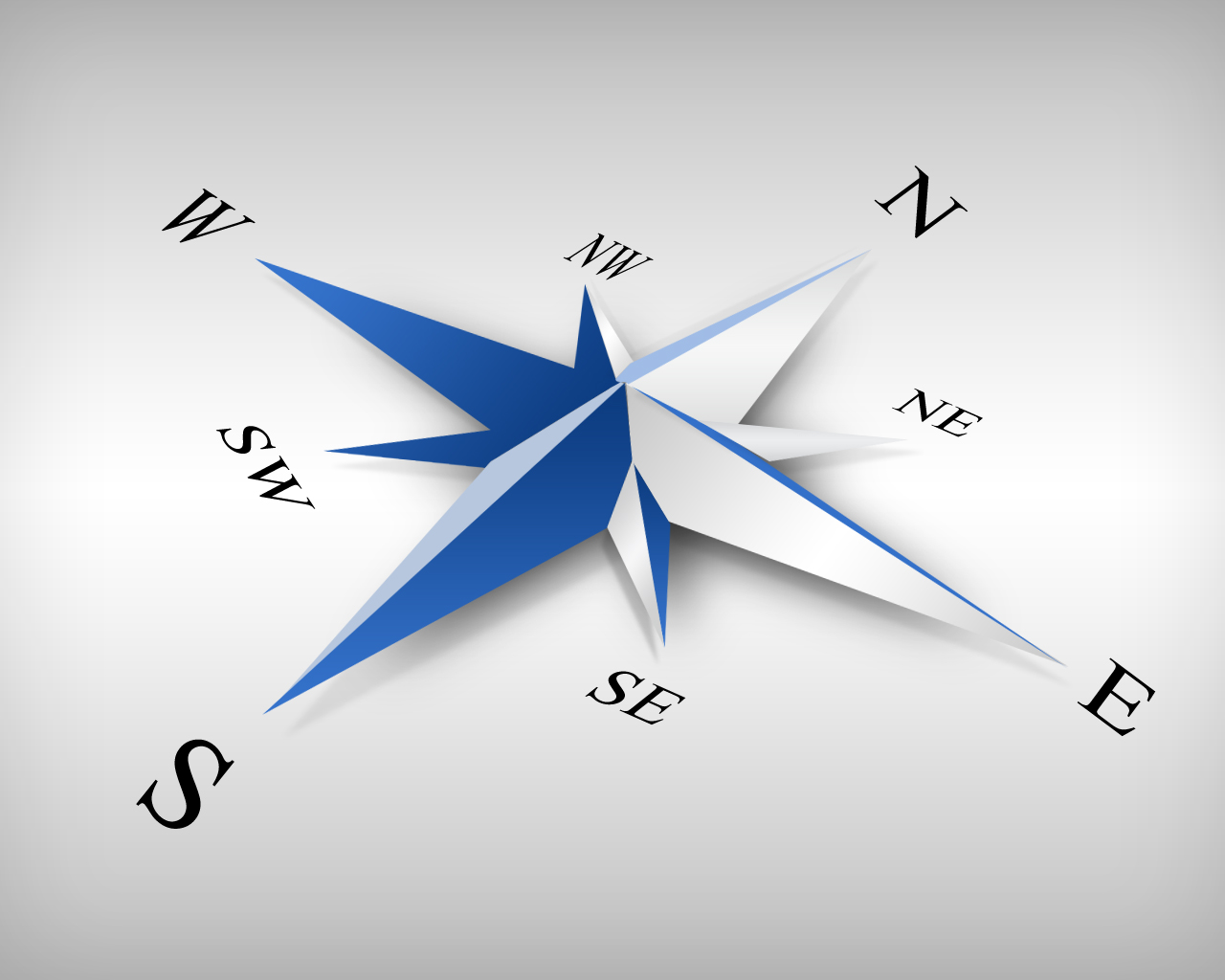 Compass with the different coordinated in blue and a white background to represent this class