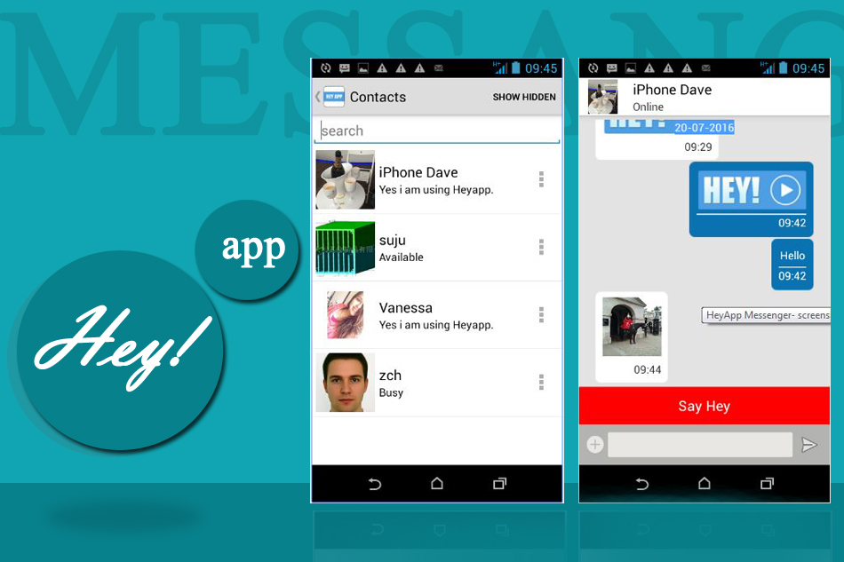 HeyApp Messenger: Instant Texting and Sharing Media in Simple Way