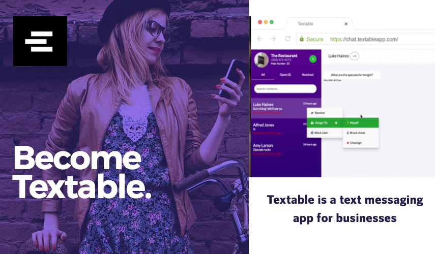 TEXTABLE- SAY NO TO PHONE CALLS & EMAILS!
