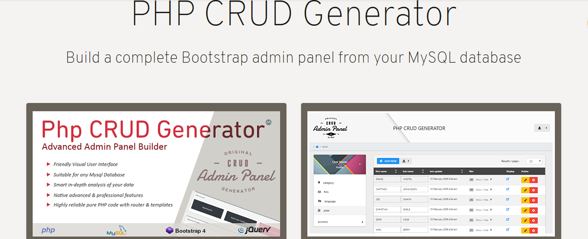 PHP CRUD Generator – A Hassle-Free Way To Build a Back Office For Your Website