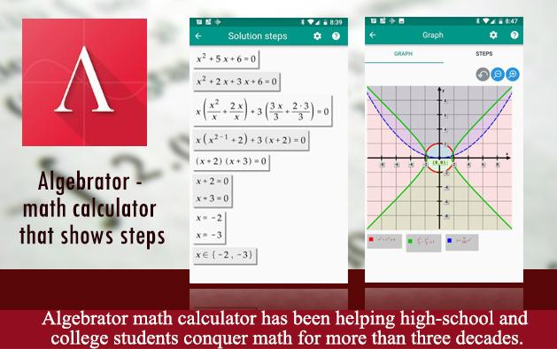 Algebrator – Math Calculator that shows steps