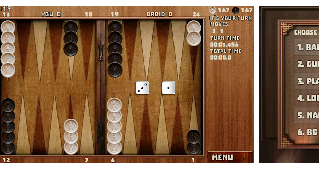 Do you Love Rolling Dices? Try 18 Backgammon Games